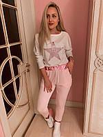 Гламурный женский спортивный костюм кофта и брюки на затяжке цвет пудра, модная женская одежда