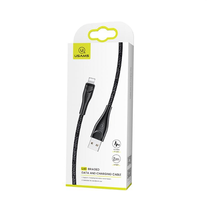 USB Cable Usams US-SJ394 Braided Data U41 iPhone X Black 2m