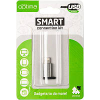 Adapter Optima A3 MicroUSB -> Lightning Aluminium