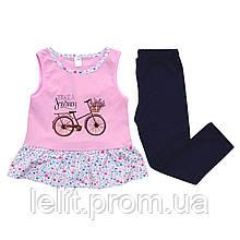 Комплект туника и лосины 4-7 лет розовый и темносиний Minikin 206702 (104, 116)