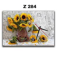 Красивые часы картина настенные Подсолнухи в вазе, 30х45 см