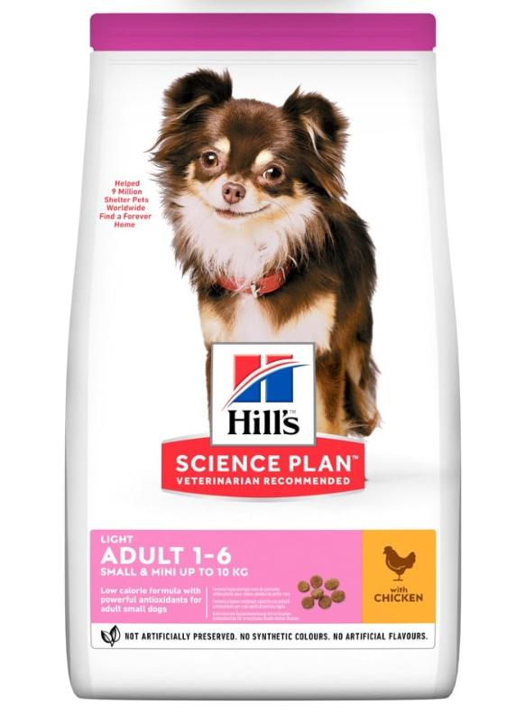 Корм Хіллс SP Can Adult Light S&M Ch з куркою, для собак дрібних порід зі схильністю до зайвої ваги, 1,5 кг