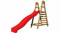 Детская деревянная площадка PlayBaby с горкой 2.2 метра. Горка пластиковая с деревянной лестницей.