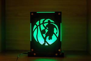 Декоративный настольный ночник Баскетболист, теневой светильник, несколько подсветок (батарейка+220В)