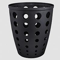 """Корзина для мусора пластм. 13,5 л """"Евро"""" в кружочки черная"""