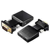 Переходник конвертор VGA на  HDMI Qgeem  1080P VGA to HDMI (+ аудио), фото 1