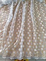 Тюль біла з серебристою вишивкою на сітці/ Гардина белая с серебристой вышивкой на фатине, фото 1