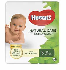 Влажные салфетки Huggies (Хаггис) Natural Care Extra Care 2+1, 3х56 шт. В упаковке 168 шт