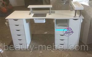 Широкий маникюрный стол с ящиком Карго, УФ-лампой, розетками, полкой и подставкой для рук