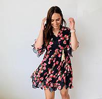 Платье шифоновое мини,легкое,струящееся,черное и белое,42-46
