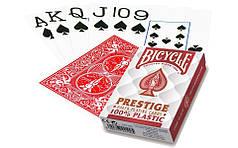 Пластикові гральні карти | Bicycle Prestige Poker 100% Plastic Червоні