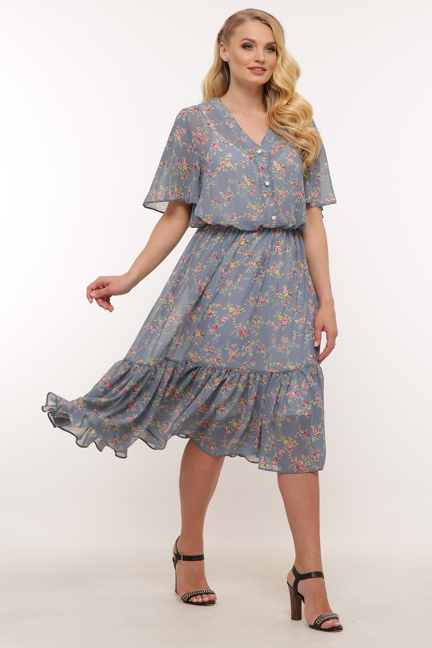 Шифоновое платье большое голубое ниже колена 60 размер