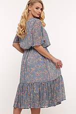 Шифоновое платье большое голубое ниже колена 60 размер, фото 2