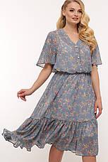 Шифоновое платье большое голубое ниже колена 60 размер, фото 3