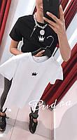 Женская летняя стильная легкая натуральная футболка с наклейкой белая черная розовая 42-44 хлопок