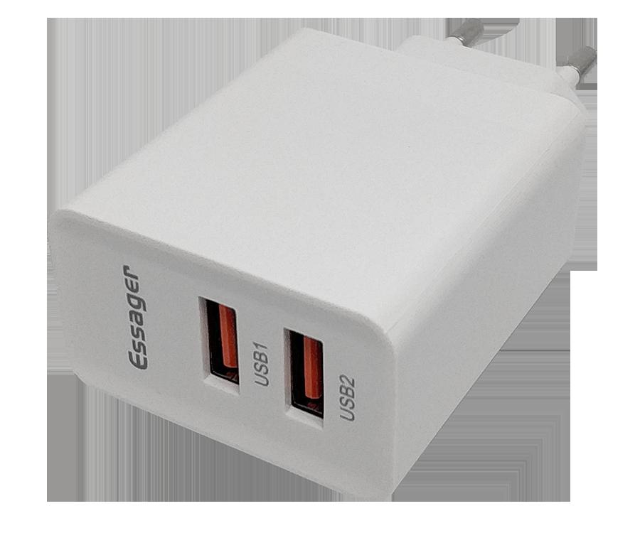 Зарядное устройство Essager XY, 2usb, 36W, Quick Charge 3.0 белого цвета