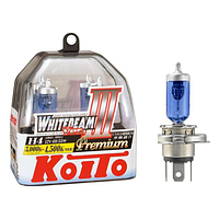 Комплект ламп (2шт) Koito WhiteBeam III 2x H4 PREMIUM 4500K 12V 60/55W P0744W