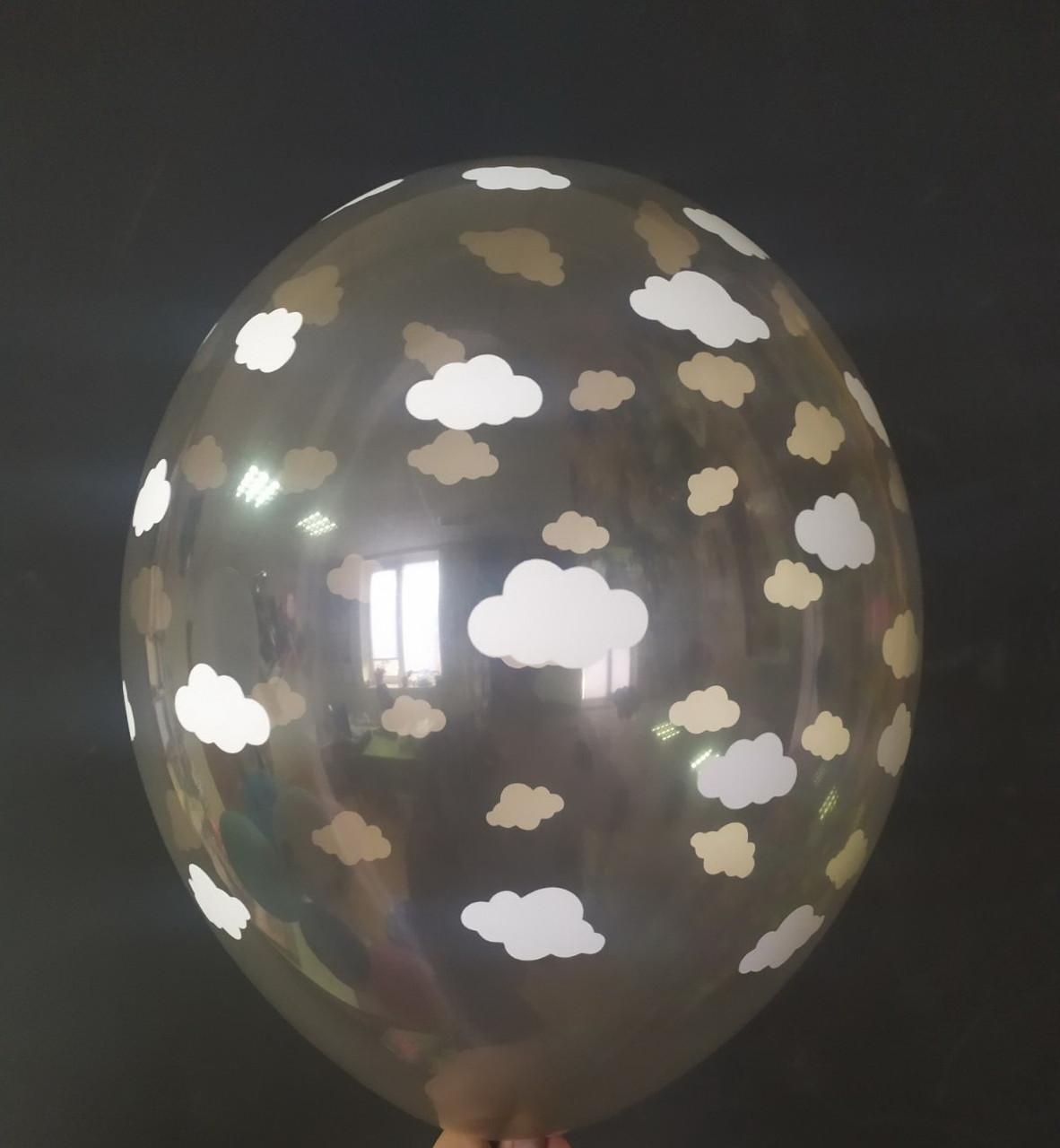 """Латексна кулька з малюнком хмаринки кристал рожевий льодяник 12"""" Belbal ТМ Куля Експерт"""