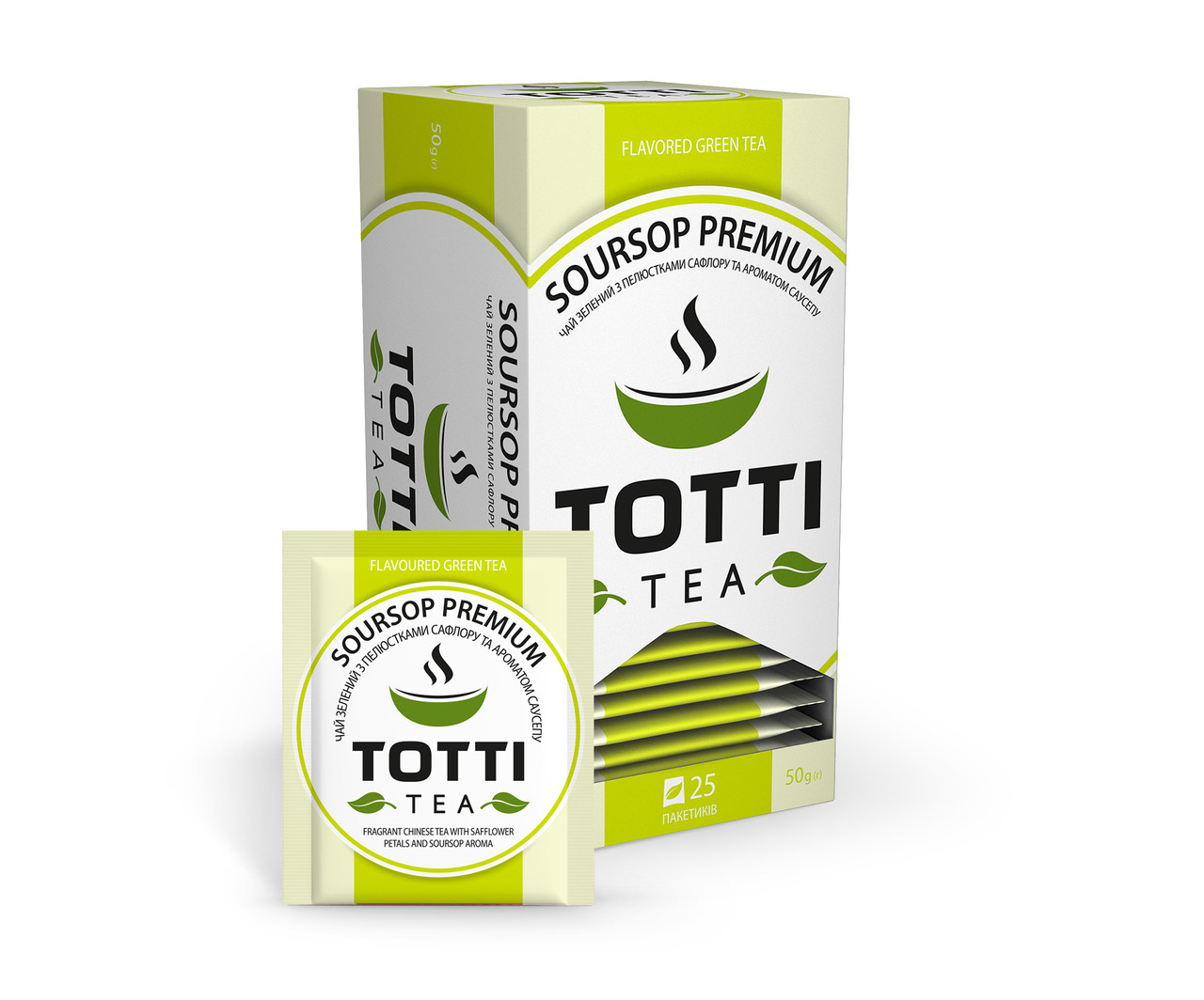 """Чай зелений TOTTI Tea """"Саусеп Преміум"""", пакетований, 25 шт по 2 р."""