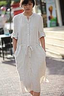 Женское льняое платье из неокрашенного серого льна и других цветов на выбор. Размеры 42-74+