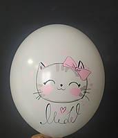 """Латексна кулька з малюнком котик meow білий 12"""" Belbal ТМ Шар Експерт"""