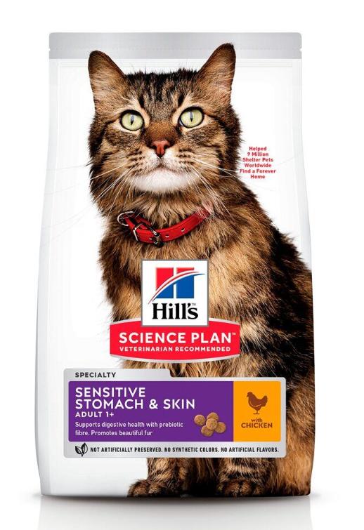 Корм Хіллс SP Fel Adult SenSt&Sk Ch для дорослих котів з чутливим травленням та проблемною шкірою, 0,3 кг