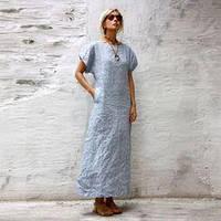 Женское льняое платье бледно голубой, розовый, айвори, молоко и другой цвет на выбор . Размеры 42-74+