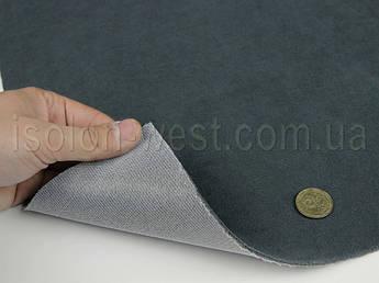 Ткань потолочная темно-серая (холодный оттенок) Frota 6, автовелюр на поролоне 2 мм с сеткой ширина 1.80 метра
