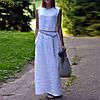 Льняной сарафан белый, синий и другие цвета на выбор. Размер 42-72+, плюс
