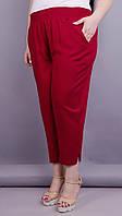 Бордовые женские брюки-капри,из штапеля 50-52,54-56 58-60,62-64