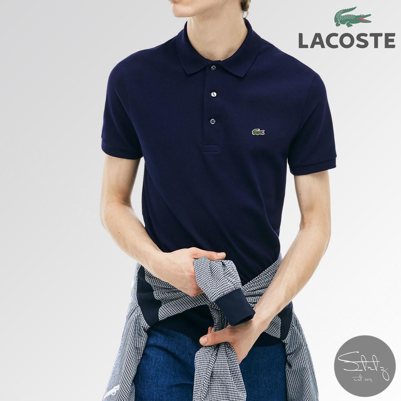 Мужская футболка поло Lacoste (dark blue), темно-синие мужское поло Лакосте