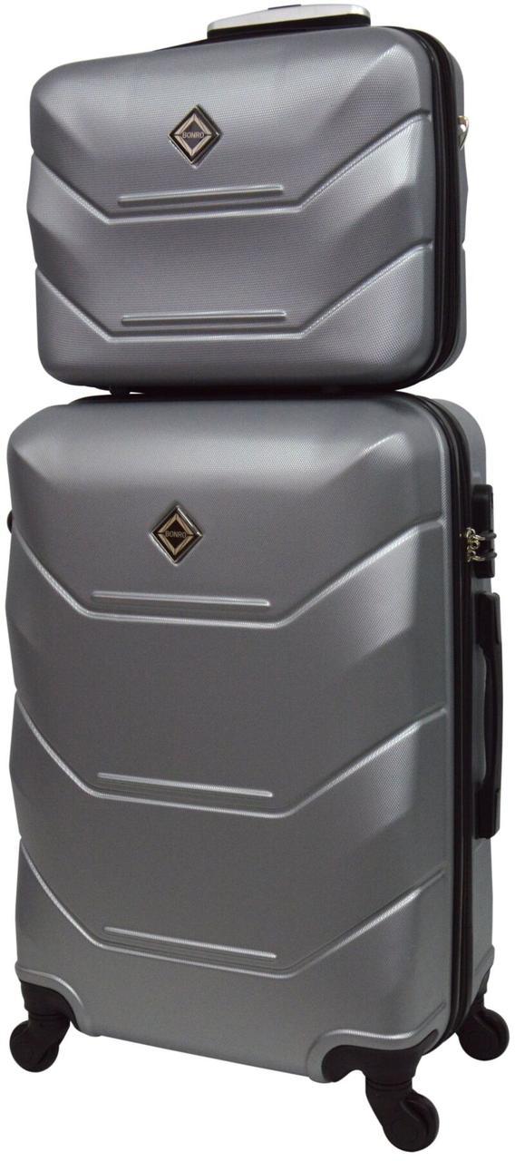 Комплект валіза і кейс Bonro 2019 середній срібний  (10501102)