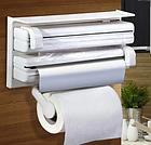 [ОПТ] Кухонный диспенсер тройной для кухонных полотенец фольги и пищевой пленки Kitchen Roll Triple Paper, фото 4