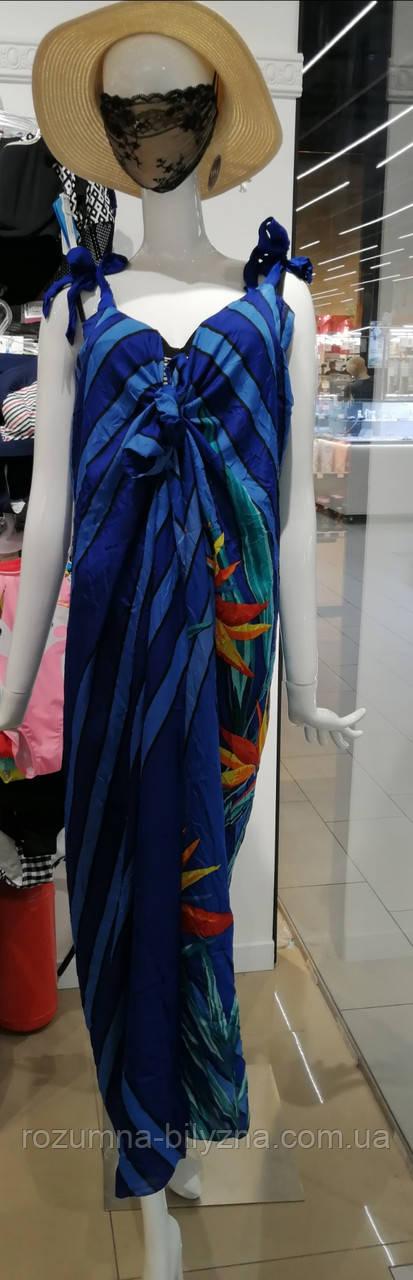 Парео-сарафан, синій з квітами, one size, TM Anabel Arto, Україна
