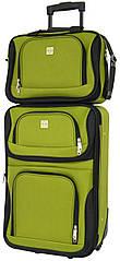 Комплект валіза і сумка Bonro Best середній зелений (10080601)