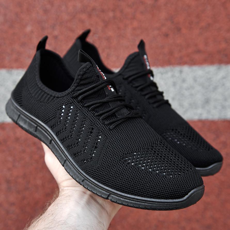 Мужские легкие летние кроссовки из черного текстиля GIPANIS 45 р. 30 см (1185380761)