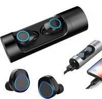 Беспроводные мини блютузнаушники Wireless Bluetooth Music EarbudsK08 в кейсе с фонариком, павербанк черные
