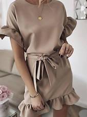 Чорне літнє плаття міні з воланами на рукавах і пояском, фото 3