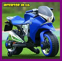 Детский электро мотоцикл на аккумуляторе Bambi M 3682L-4 синий. Дитячий мотоцикл електричний синій