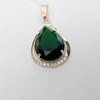 Кулон Сесилия серебряный с золотом и зеленым камнем капля, фото 1