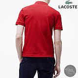 Мужская футболка поло Lacoste (red), красное мужское поло Лакосте, фото 3