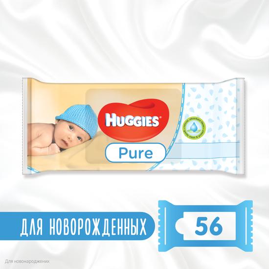 Вологі серветки Huggies Pure, 56шт