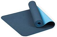 Коврик для фитнеса и йоги TPE+TC 6мм двухслойный темно синий-голубой