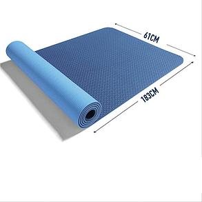 Коврик для фитнеса и йоги TPE+TC 6мм двухслойный темно синий-голубой, фото 2