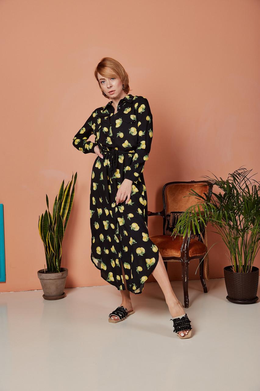 Платье чёрное с лимонами Catherines