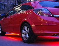 Гибкий холодный неон, неоновая подсветка авто 5м, красный плоский.
