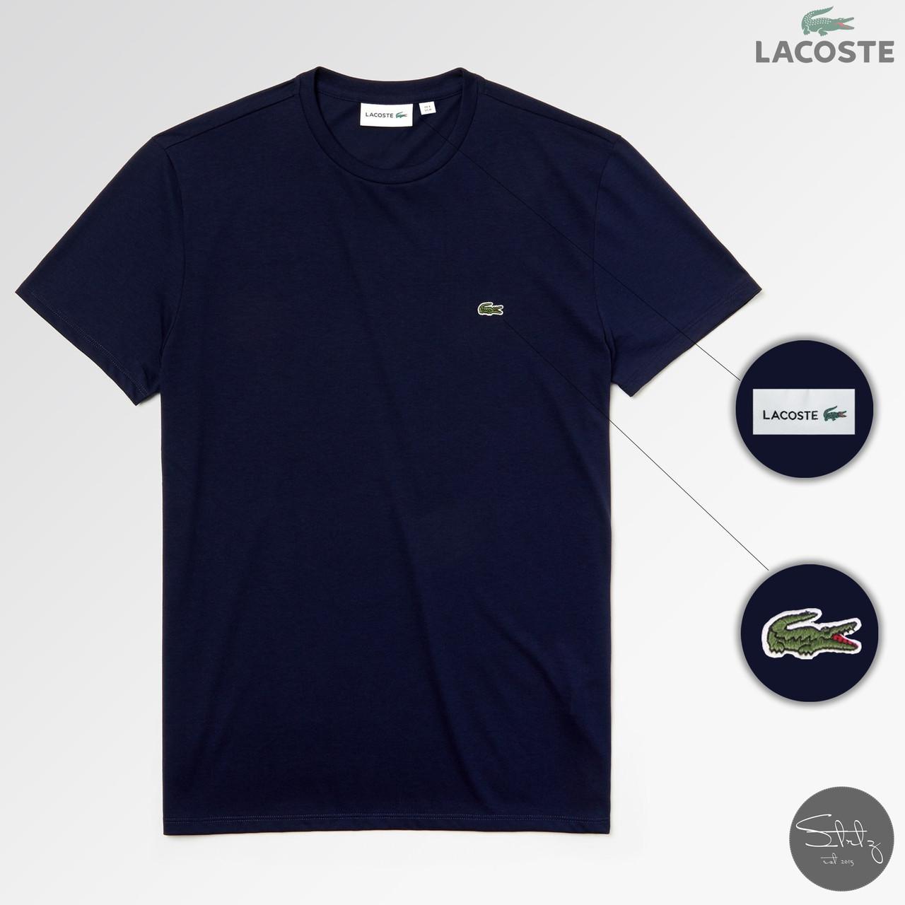 Мужская футболка Lacoste (dark blue), темно-синяя мужская футболка Лакосте