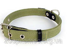 Брезентовий нашийник для собак Collar (Колар) х/б подвійний зі світловідбивною ниткою (ширина 25 мм, довжина 41-53 см)