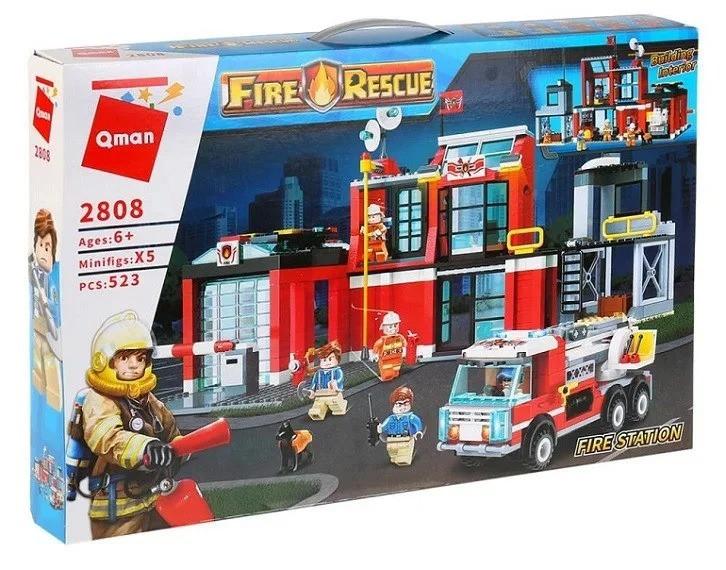 Конструктор Fire Rescue Пожарная часть 523 деталей Qman 2808