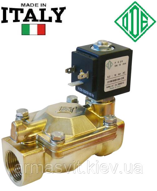 """Электромагнитный клапан для воды 1 1/2"""", DN 40, НЗ, NBR, -10+90°С, ODE 21W6KB400 (Италия), нормально закрытый"""
